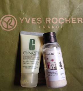 Yves Rocher & Clinique Lotion.