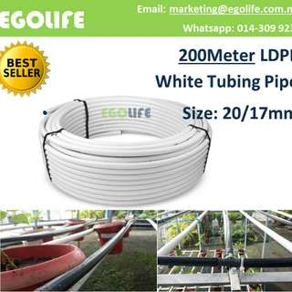 200 Meter Irrigation Tubing Pipe White Two Layer LDPE (Size: 20/17mm )