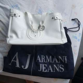 OG Armani Jeans White Tote Bag