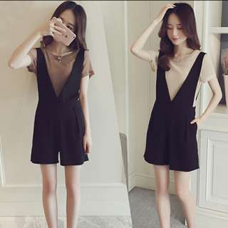 Overalls Playsuit in black