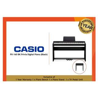 (Brand New Display Set) Casio PX-160 BK Privia Digital Piano (Black)