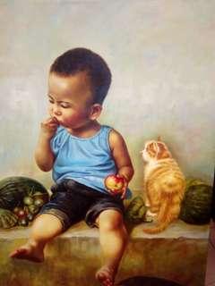 油画<小童>100x78cm。王春燕画。原创