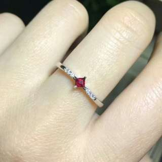 Natural Red Ruby Gem Simple Ring