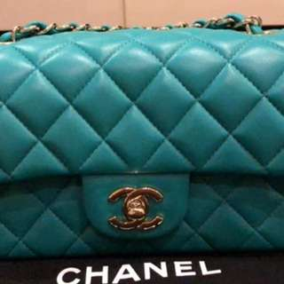 Chanel mini rectangular turquoise with ghw