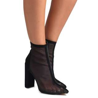 ORION BLACK MESH Ankle Boots 6 7 8 9 10