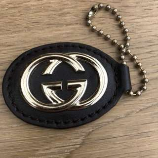GUCCI Bag Tag Leather with Champagne Gold hardware