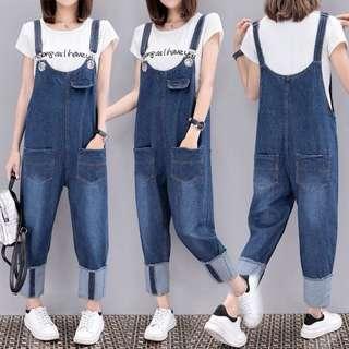 (XL~5XL) KoreaCasual loose strap jeans jumpsuit