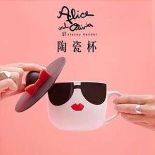 全新有盒 alice + olivia by Stacey Bendet 陶瓷杯+蝴蝶結帽子形杯蓋 容量: 500ml