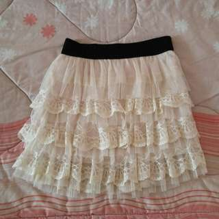 Beige yellow and black laced layer tutu skirt
