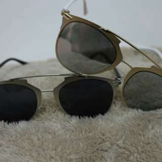 Shapes&Shades #0005 Gold &Silver Sunglasses w/ pouch&wiper