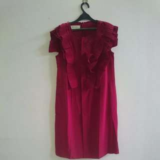 Maroon Ruffle Dress MARNI