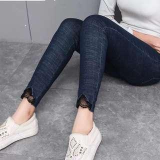 (32~42) 2018 Korea High waist jeans lace stitching pants