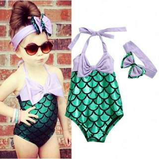 Mermaid Swimsuit For Age 2 To 7 Yo