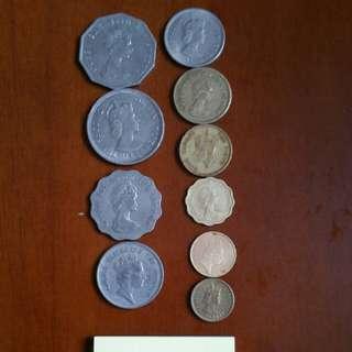 香港硬幣👍 女王頭:同男王頭:👉銀色5毫👉5仙👉共10個