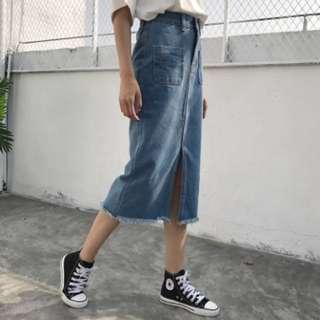 Instock Korean High Waisted Mid Slit Denim Skirt (Free Mailing)