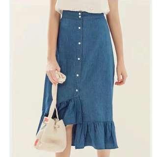 Asymmetry Denim Skirt