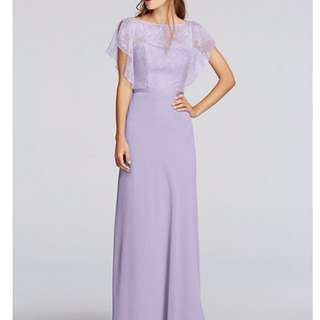 Chiffon dress with cascading lace sleeves by Jenny Packham