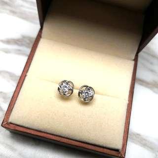 日本純銀水晶閃亮防敏感耳環 Brand New Japanese Silver Crystal Shiny Sensitive Earrings