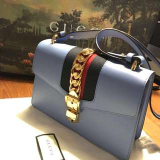 New Gucci Sylvie Sky Blue Shoulder Bag 新款Gucci Sylvie系列天藍色手袋