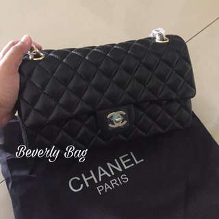 jual tas Chanel Classic Lambskin2 5 LEATHER MIRROR - Black GHW