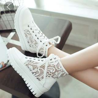 High Cut White Lace Sneakers