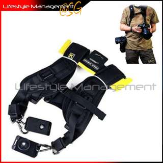 DSLR Camera Quick Release Double Shoulder Dual Sling Strap (Canon Nikon Olympus Panasonic Sony)