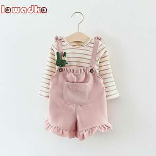 Lawadka Long Sleeve T Shirt + Overalls Baby Clothing Sets Girl Cotton Striped