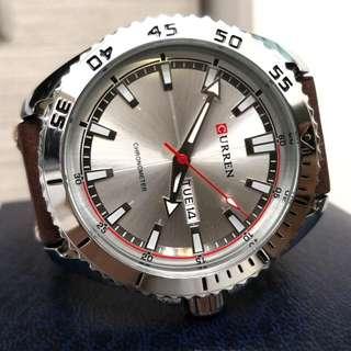 CURREN黑鋼日曆型格時尚真皮手錶 Original CURREN Sliver Steel Calendars Genuine Leather Watch