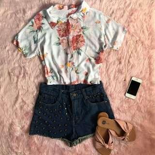 Floral polo top