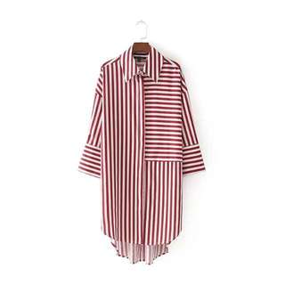 Red strips boyfriend shirt dress