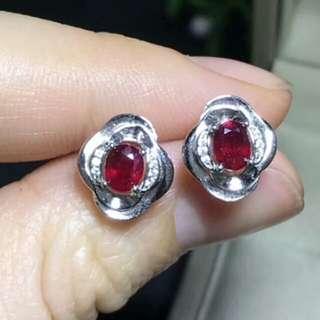 Natural Pigeon Red Ruby Gem Flower Earrings