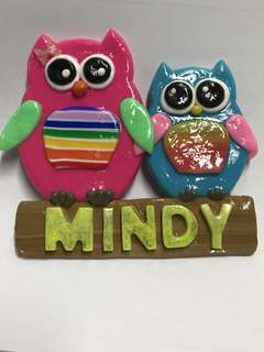Personalised magnet, name, owl with polymer clay