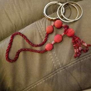 Red Ball Necklace & Bracelets