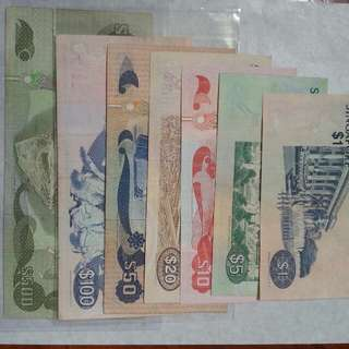 Bird series $500, $100, $50, $20, $10, $5, $1 notes 1ea
