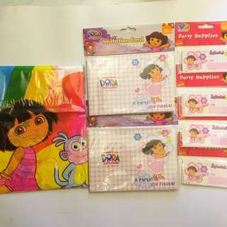 Dora table cover, invitation cards and name stickers