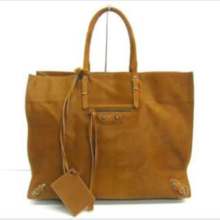BALENCIAGA - Papier Tote Bag in Brown Horse Hair