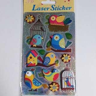 3D Laser Birds Theme Stickers