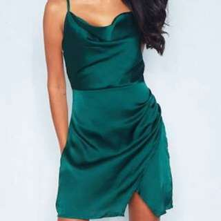 Green satin cowl neck dress