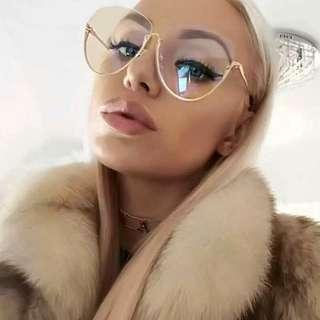 Oversized Semi Rimless Lunettes Glasses
