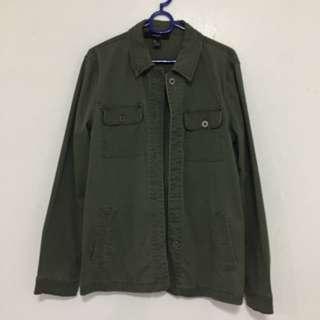 Forever21 Army Green Oversized Denim Jacket
