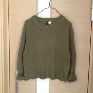 H&M百搭軍綠色針織衫 上衣