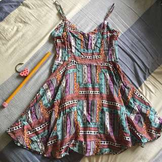 Bohemian Patterned Dress / Flare bottom / Bustier-like spaghetti top with adjustments