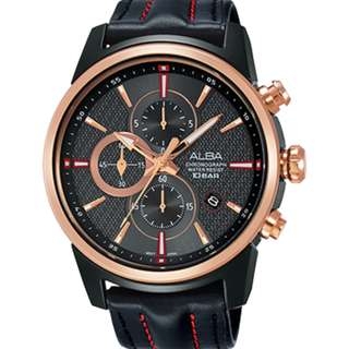 Alba AM3456X1 Men Chronograph AM3456 AM3456X Black Rose Gold Leather