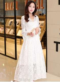 AO/HHC070426 - Grace V-Neck Flare Sleeve Hollow Out Lace Long Dress