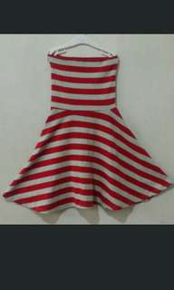 Striped Red And White tube Skater Dress