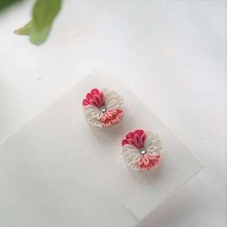 【粹】3色 (粉紅, 桃紅, 白色) 真絲水晶花 つまみ細工和風手工布花耳環 (可改夾式耳環)