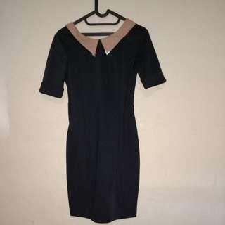Dress simple hitam paduan coklat