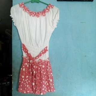Dress putih pink tali pinggang