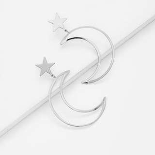 Hollow Moon & Star Design Drop Earrings