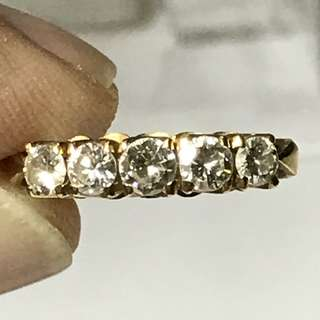 {Women's Jewelry - Diamond Ring} Beautiful Vintage 20K Yellow Gold Come With 5 Pieces Very Good Polished Genuine Diamonds Ladies Ring